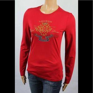 Lauren Ralph Lauren Red Long Sleeve Tee w/ Crest